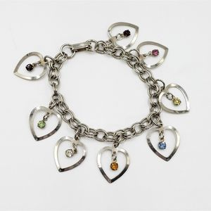 Vtg silver tone hearts and rhinestone charm